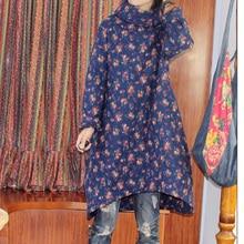 Оригинальный народном стиле бассейна воротник куртки пальто плюс размер свободные чистого хлопка ультра тонкие хлопка мягкой одежды длинный хлопок халат платье