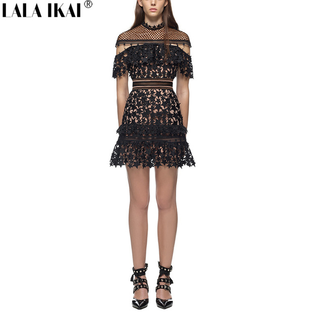 Solid Black Guipure Lace Dress 2017 Summer Women Off Shoulder Yoke Frill Star Mini Party