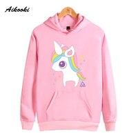 Aikooki Unicorn Hoodies Women Sweatshirts Kawaii Pink White Sweatshirt Women Cartoon Believe Me Funy Harajuku Pullovers