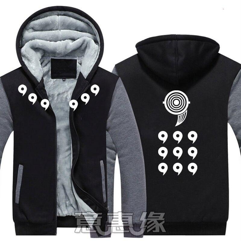New Uzumaki Naruto Hoodie Anime Uchiha Sasuke Coat Jacket Winter Men Thick Zipper Ootutuki Hagoromo Sweatshirt