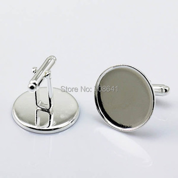 Blank Cufflinks Settings with Round Strong Bezel Cabochons Bases Men's Metal Cuff links Findings Silver Plated