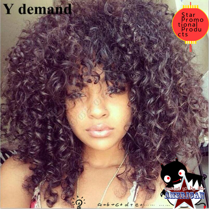 Free PP bags rihanna bang wigs hair style Curly short Wigs None Lace Black curly wig - Europe South Africa British store