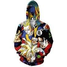 Japanischen anime Dragon Ball Z Goku Zip-Up Hoodie 3d druck Reißverschluss Sweatshirts Frauen Männer Jumper Tops Sweats Outfits