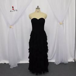 Халат Sexy d'honneur сексуальное длинное свадебное платье Черное шифоновое платье для подружки невесты Многоуровневая юбка Дешевое выпускное
