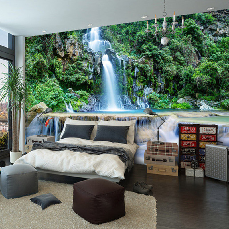 Customized HD 3D Stereo Chinese Style Waterfall Forest Nature Landscape Mural Wallpaper Living Room Bedroom Classic Decor Murals