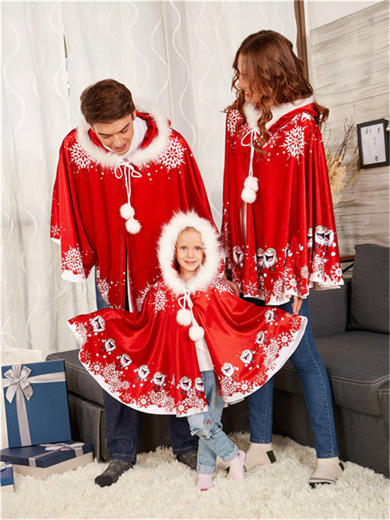 Christmas Santa Family Matching Clothes Parents and Kid Girl Boy Hooded Cloak Outwear Unisex Xmas Cosplay Fancy Top Winter lace see thru cloak top
