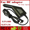 JIGU High quality DC Power Car Adapter Charger 19.5V 4.7A  For Sony Laptop 6.0*4.4MM 90W Input DC11-15V max 10A Free shipping