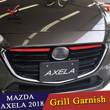 купить For Mazda 3 Axela BM 2017 2018 Front Radiator Mesh Grille Grill Cover Trim Insert Molding Garnish Guard Car Styling в интернет-магазине