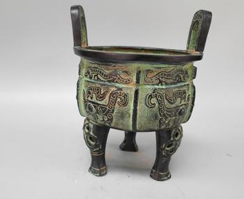 Chinese archaize bronze beast face Incense burner