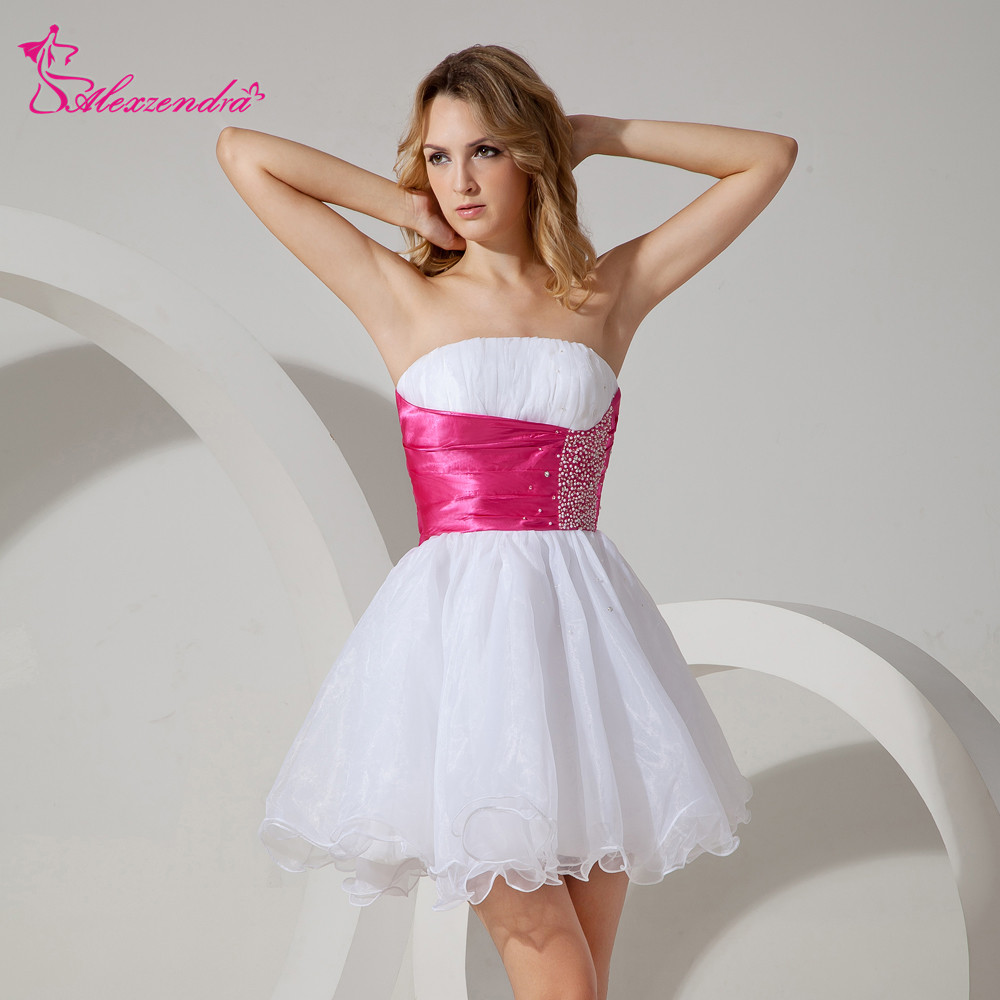 Alexzendra White Organza Strapless Beads Above Knee Mini   Prom     Dresses   Customize Special Party Gowns