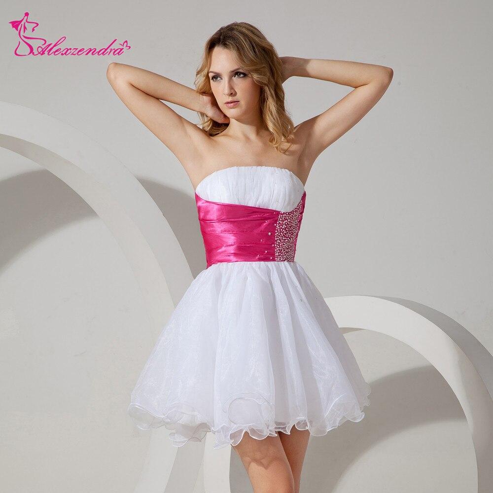 Alexzendra blanc Organza bretelles perles au-dessus du genou Mini robes de bal personnaliser robes de fête spéciales