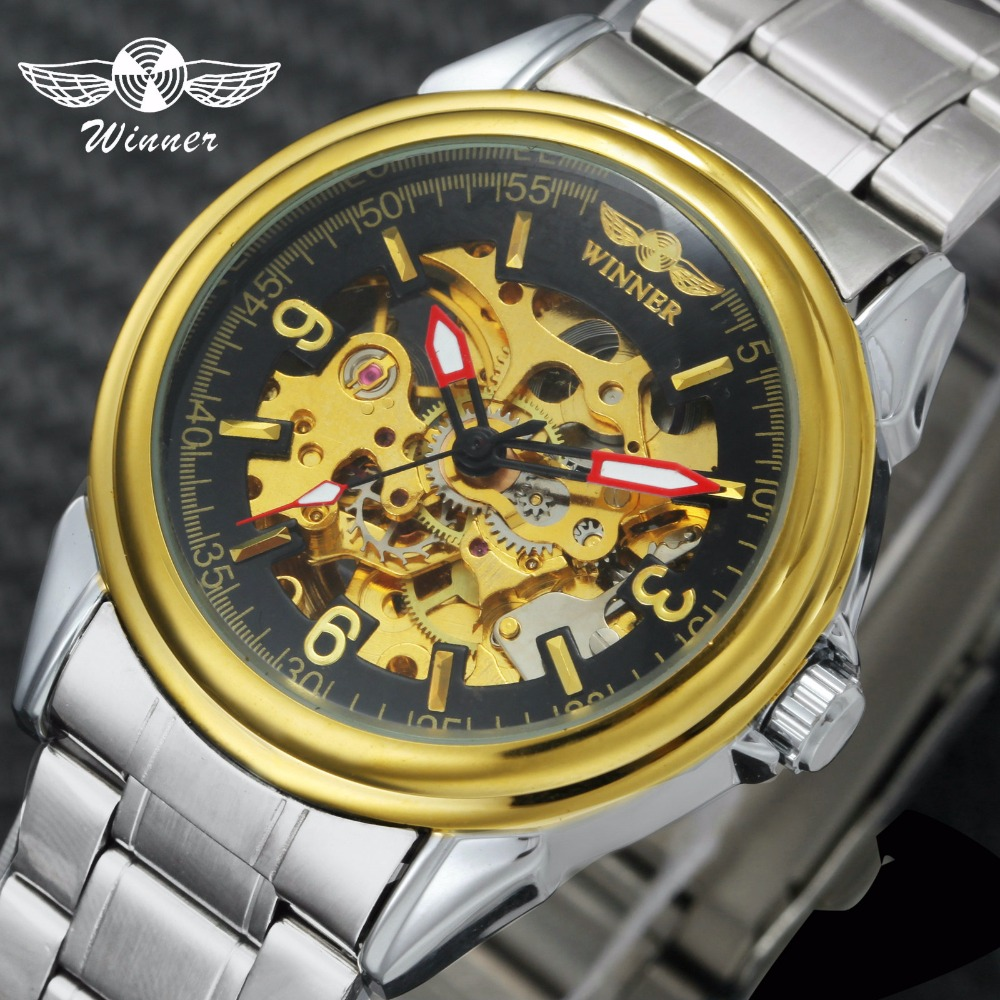 WINNER Official Classic Men Women Watches Automatic Mechanical Watch Skeleton Dial Stainless Steel Band Arabic Number Wristwatch