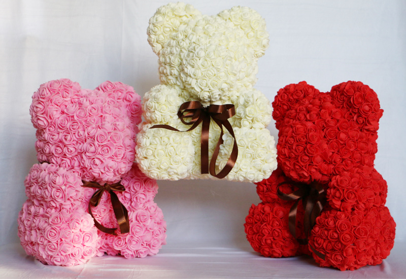 2018 Valentines Gift 24 Colors PE Rose Bear Wedding Gift Girlfriend Gift Anniversary Gift free Customize