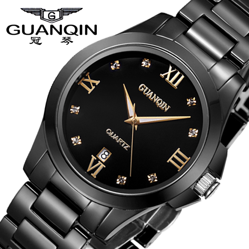 Brand guanqin women quartz watch waterproof black ceramic watches brand luxury ladies watches relogio feminino