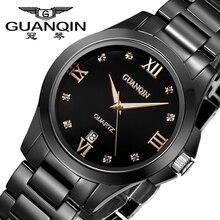 Relojes Mujer 2016 GUANQIN Reloj de Cuarzo de Las Mujeres A Prueba de agua de Cerámica Negro Relojes de Marca de Lujo Ladies Watch relogio feminino