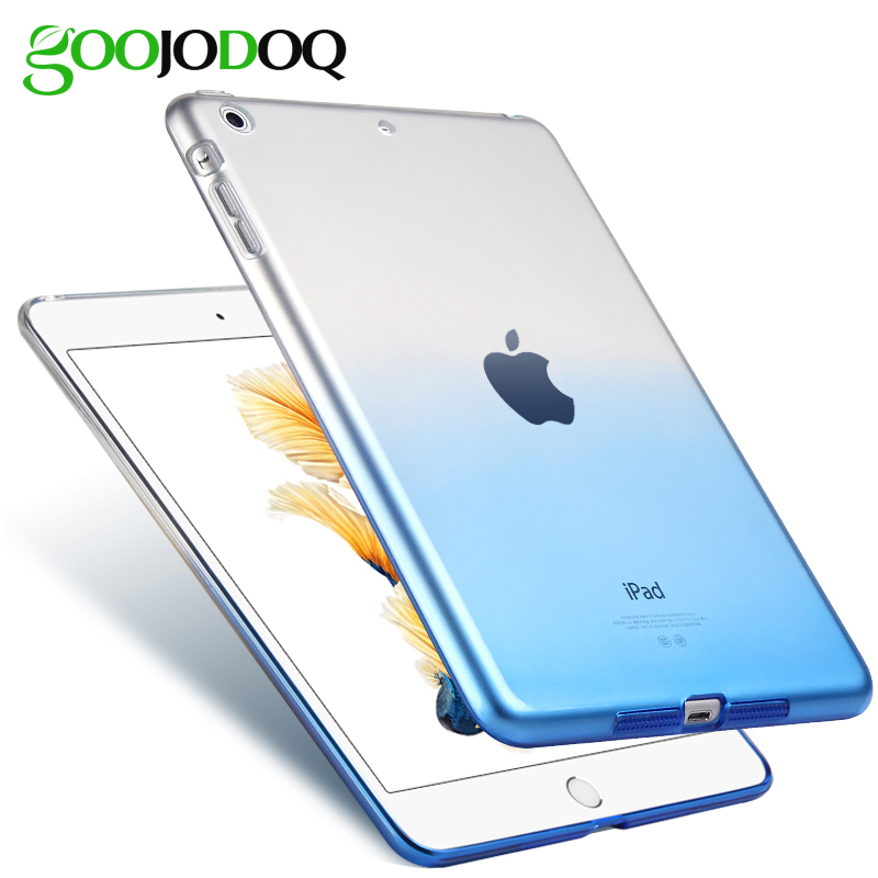 For iPad 9.7 2017 Case Cover Silicone Soft A1822 A1823 GOOJODOQ Gradient Clear Case Slim Shell Cover For iPad 2017 2018 9.7 inch nice flexible tpu silicone case for apple new 2017 ipad 9 7 cover protect smart cover partner clear transperent bottom back case