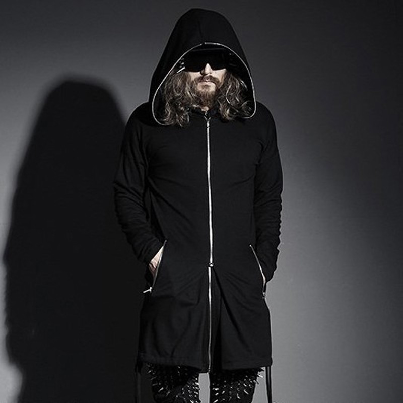 Mens Streetwear Oversized Slim With A Big Hood Long Zipper