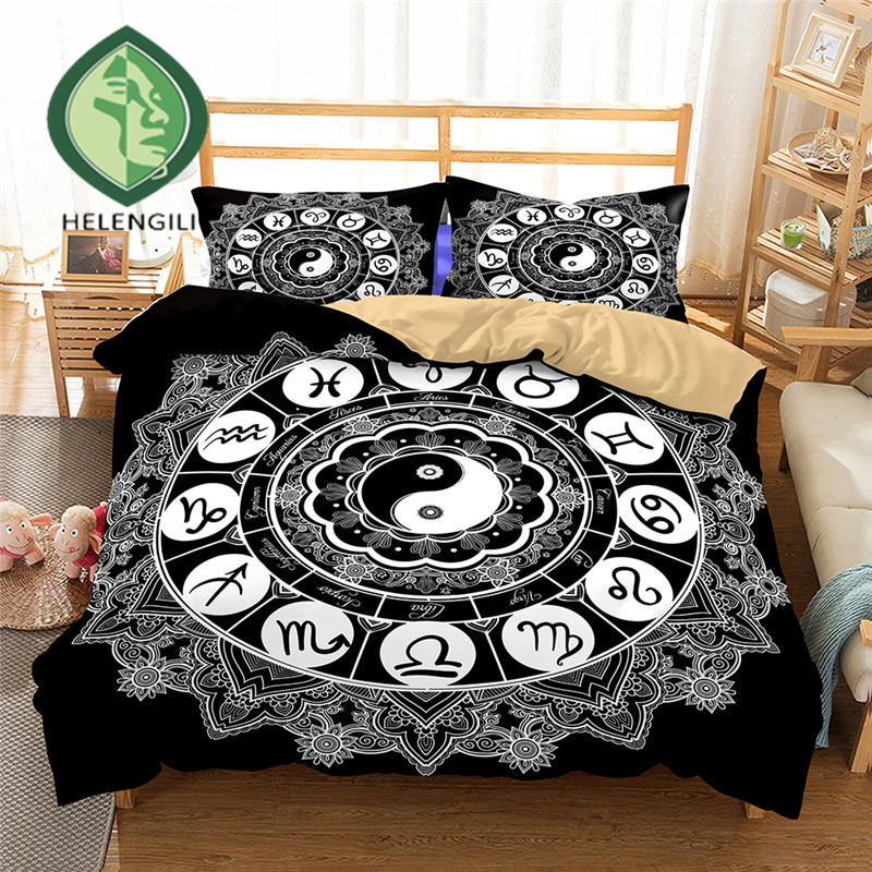 HELENGILI 3D Bedding Set Yin Yang Print Duvet Cover Set Lifelike Bedclothes With Pillowcase Bed Set Home Textiles #2-05