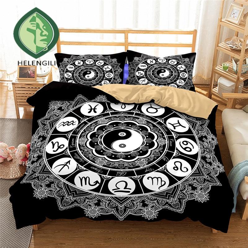 HELENGILI 3D Bedding Set Yin Yang Print Duvet Cover Set Lifelike Bedclothes With Pillowcase Bed Set Home Textiles #2-05