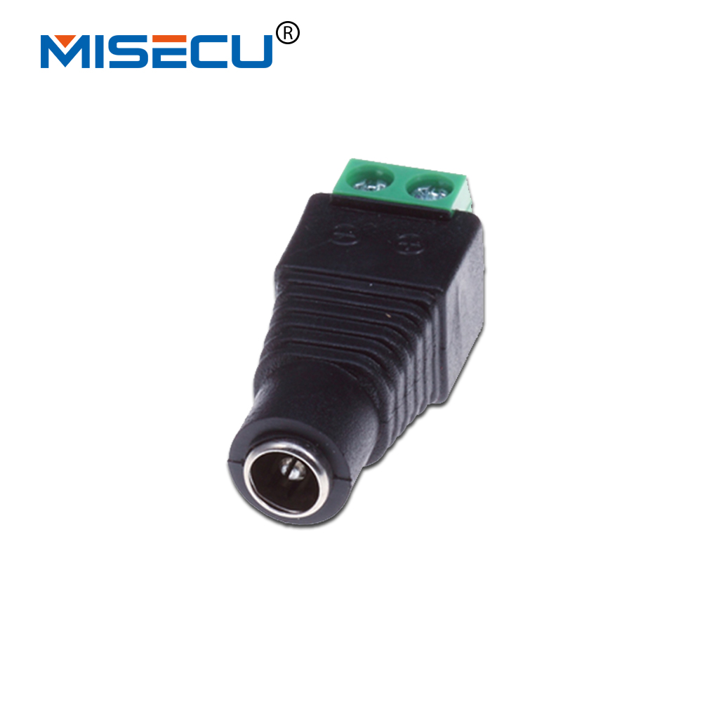 MISECU 10pcs/lot 2.1 X5.5mm Female Connector  DC Power Cable BNC Connector For CCTV System