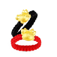 Solid 24K Yellow Gold Ring 3D 999 Gold Cute Crab String Weave Ring