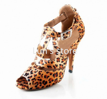 New Sexy Leopard Satin Ballroom Latin Dance font b Shoes b font Latin Dance font b