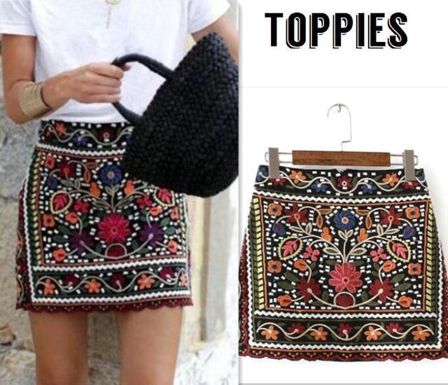 Модные женские туфли в богемном стиле цветочный Вышивка Высокая талия юбка Для женщин ацтеков вышитые мини-юбка sk058