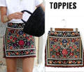 Fashion Women Bohemian Floral Embroidery High Waist Skirt Women Aztec Embroidered Mini Skirt SK058