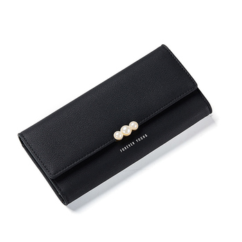 Women's Pearl Buckle Leather Wallet Bags and Wallets Hot Promotions New Arrivals Women's Wallets Color: Black