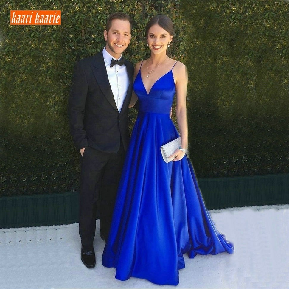 Fashion Royal Blue Evening Gowns Long 2019 Sexy Women Party Formal Dress V-Neck Satin Backless Lady Evening Dresses Custom Made