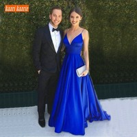 Fashion Royal Blue Evening Gowns Long 2019 Sexy Women Party Formal Dress V Neck Satin Backless Lady Evening Dresses Custom Made