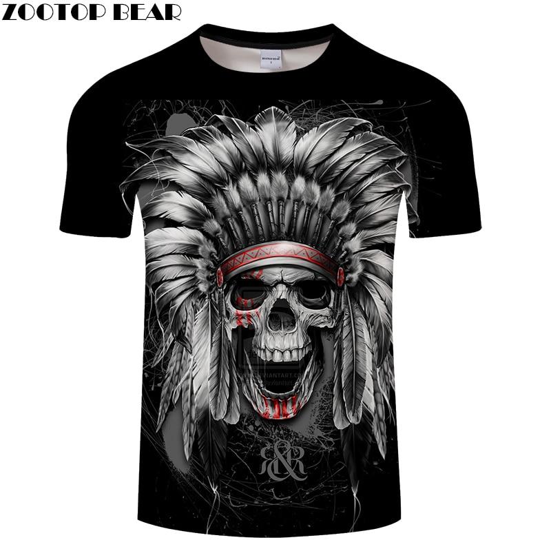 Feather Skull 3D Print t shirt Men Women tshirt Summer Casual Short Sleeve O-neck Tops&Tee Black 2018 Drop Ship ZOOTOP BEAR