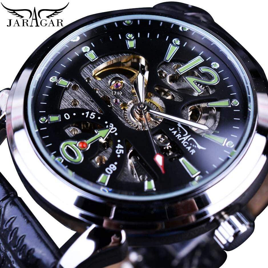 Jaragar Automatic Mechanical Mens Hollow Skeleton Green Sport Watch Business Military Black Leather Wristwatch Relojes Masculino