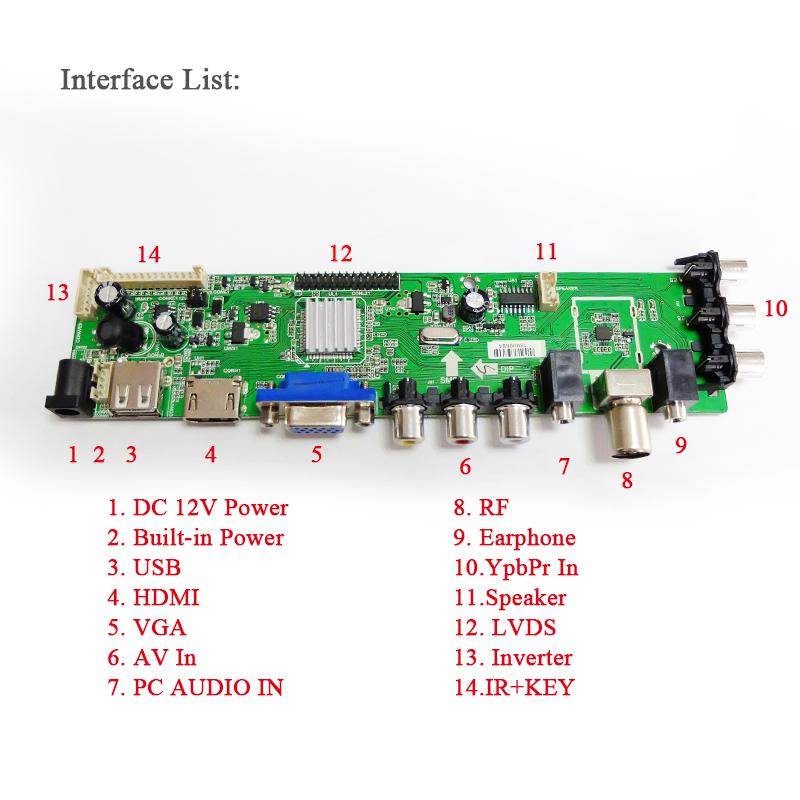 Z.VST.3463.A1 Support Digital signal DVB-C DVB-T DVB-T2 7-key button+Inverter+LVDS cable Universal LCD TV Controller Driver
