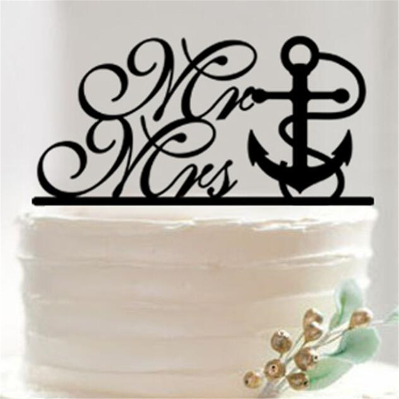 Cake Decorating Store Underwood : Black Acrylic Marine Wedding English alphabet Cake Topper ...