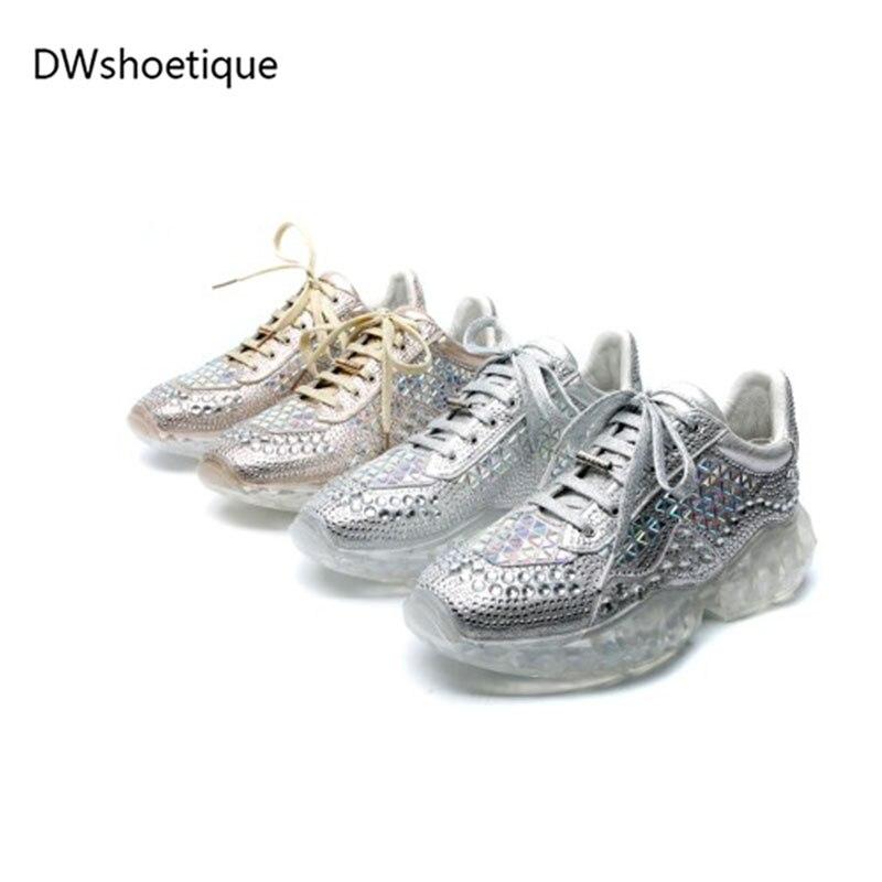 silver À Lacets Cristal Nouveau Carré Falts Rivet Décontracté Sneakers Femmes Gold Wv1wWxnaq