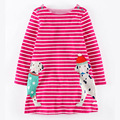 Autumn Cute Baby Clothes Red Girl Dress Stripe Long Sleeve Dress Girl Spring Dresses Spotty Dog Wholesale Girls Cotton Dresses