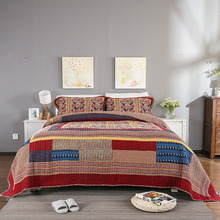 Quality Vintage Patchwork Quilt Set 3PCS Quilted Bedspread Washable Cotton Quilts Bed Covers Super King Size Coverlet