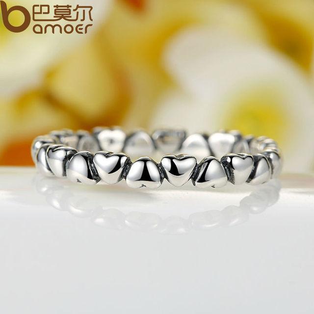 Bamoer real  925 Sterling Silver Forever Love Heart Finger Ring Original Jewelry Gift GLOBAL SHOPPING FESTIVAL 2019 PA7108 3