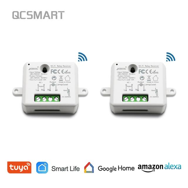 Tuya Smart Life pequeño WiFi enchufe módulo interruptor de luz, Control remoto de aplicación, Control de voz, trabajo con Google eco Alexa IFTTT