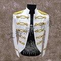 Бесплатная доставка мужская золотой вышивка белый/черный vintage смокинг/этап/событие куртка/only куртка