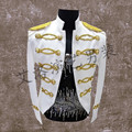 Free shipping mens golden embroidery white/black vintage tuxedo jacket/stage performance/event jacket/only jacket