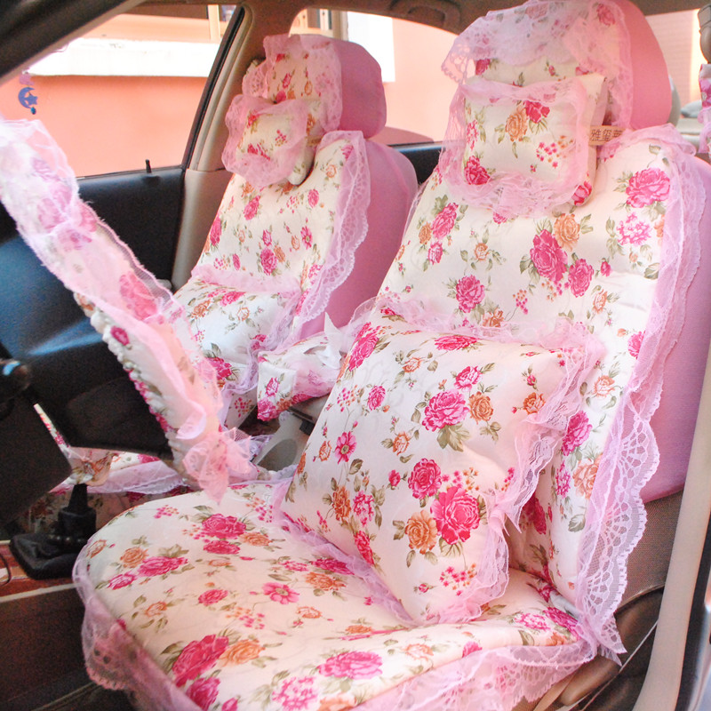 Universal Lace Car Seat Cover Romantic Jacquard floral Print Women Lace Car Seat Cover for Femal 15pcs Sets - Beige & Pink grey lace details floral print v neck sleeveless pajamas sets