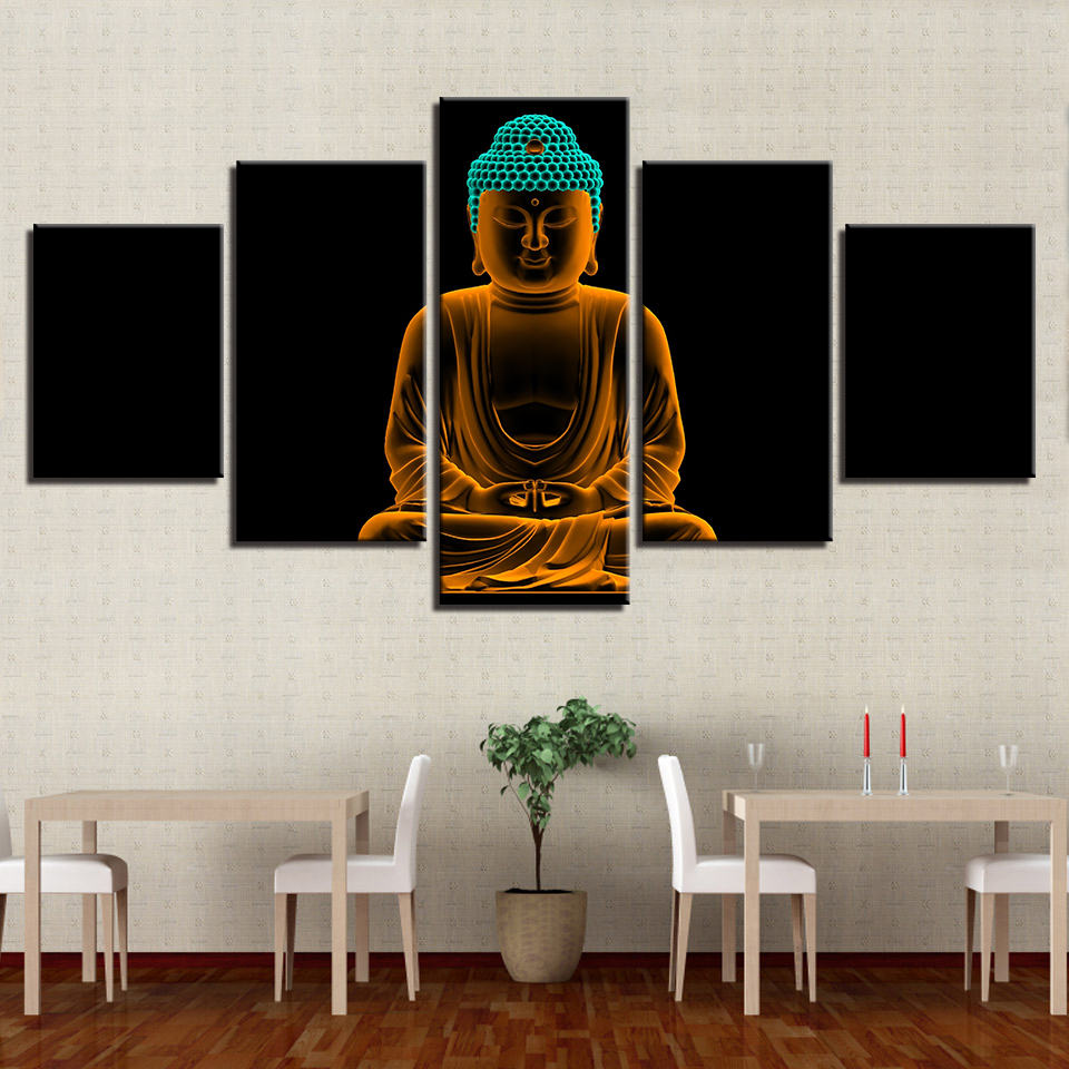 Framework Art Poster Wall Modular 5 Panel Buddha Modern Painting Popular Picture Home Decoration Print On Canvas For Living Room
