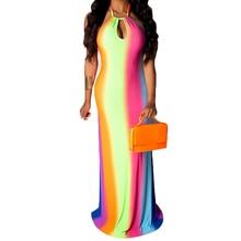 цена на Women Vintage Floor-length Dress Sexy Sleeveless Hollow Out Halter Maxi Dress Summer Bohomian Beach Party Retro Bodycon Dress