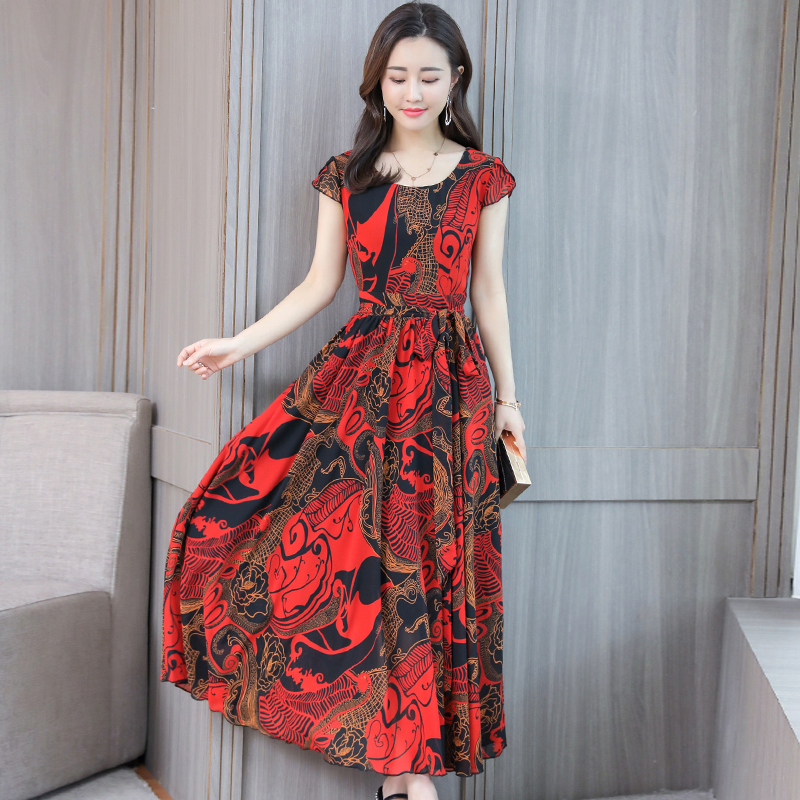 Boho Dress Bohemian Summer for Women Plus Size 4XL Short Sleeve Vintage Chiffon Maxi Floral Office Formal Dress Women Elegant1