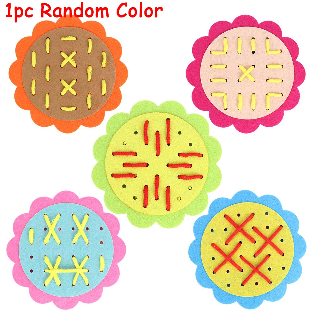 Lovely Non-woven Sun Flower Threading Handmade Toy Threading Perforation Puzzle Toy For Kid Baby Gift