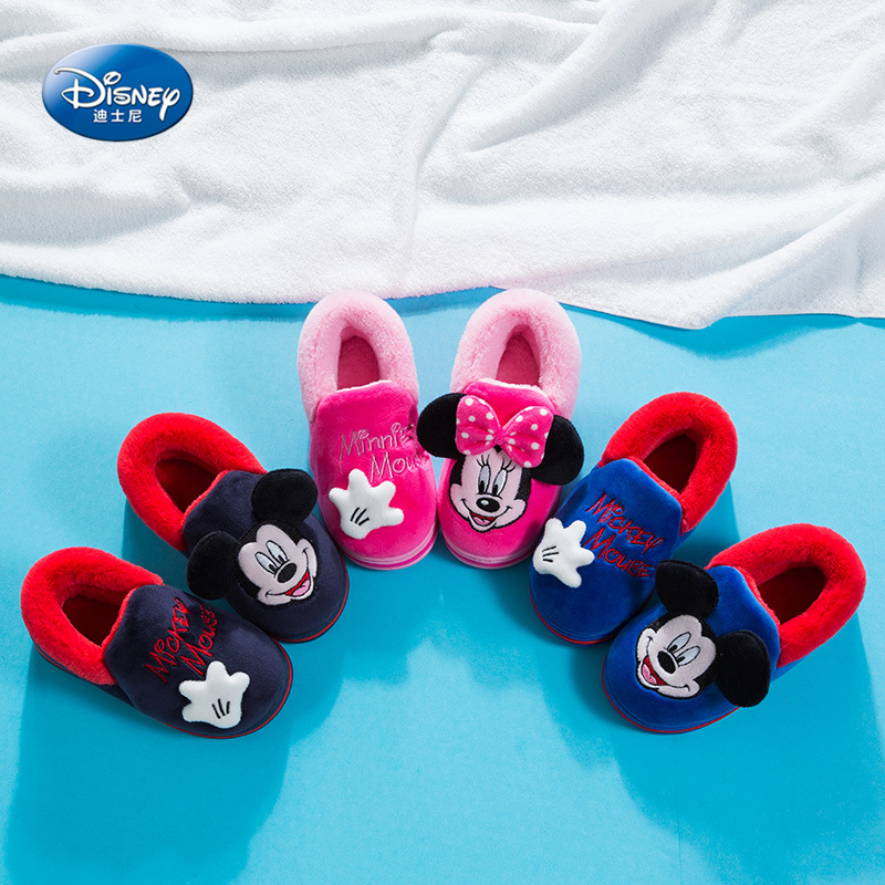 2019 New Cartoon Cotton Shoes Mickey Autumn And Winter Warm Cotton Slippers Parent-child Minnie Anti-skid Children's Shoes