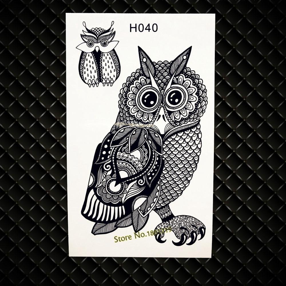 Henna Owl Designs Fake Flash Tattoo Women Body ARm Legs Shoulder Tattoo Stickers GH040 Black Owls Temporary Tattoo Jewel Sticker
