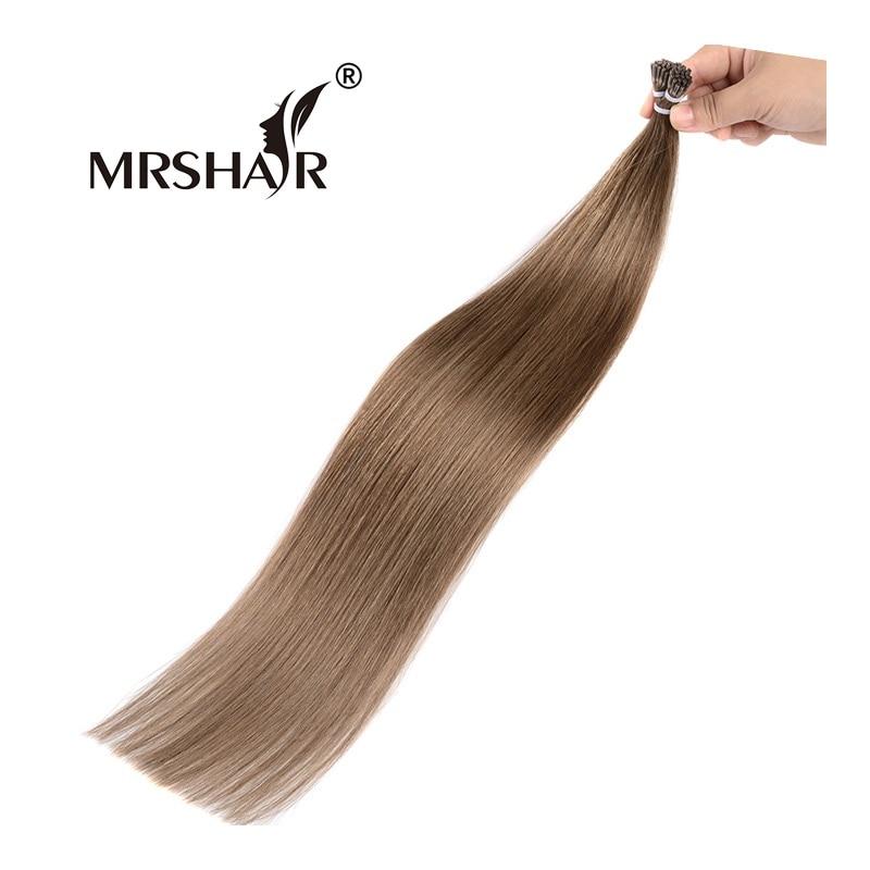 MRSHAIR 8 I Tip Human Hair Keratin 1g pc Chestnut Brown Hair On Capsules Stick Hair